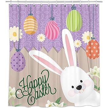 Rabbit Ears /& Eggs Easter Bathroom Decor Shower Curtain Waterproof Fabric /& Hook