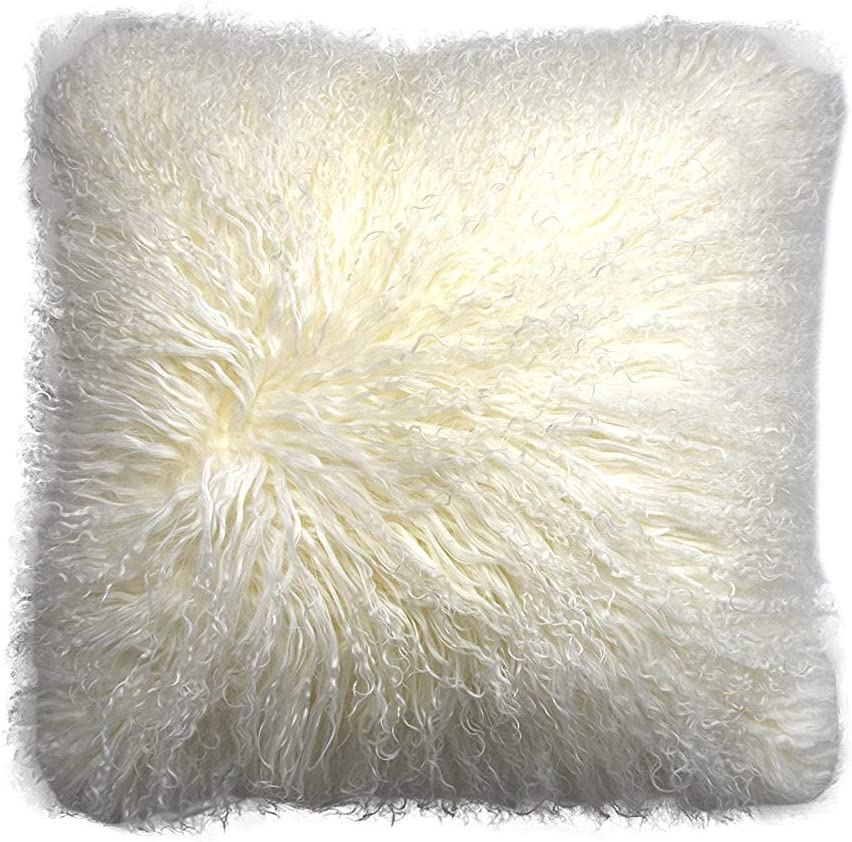 Amazon Com Rose Feather Real 100 Tibetan Mongolian Lamb Sheepskin Wool Fur Super Soft Plush Leather Pillowcase Cushion Cover White 20x20inch Home Kitchen