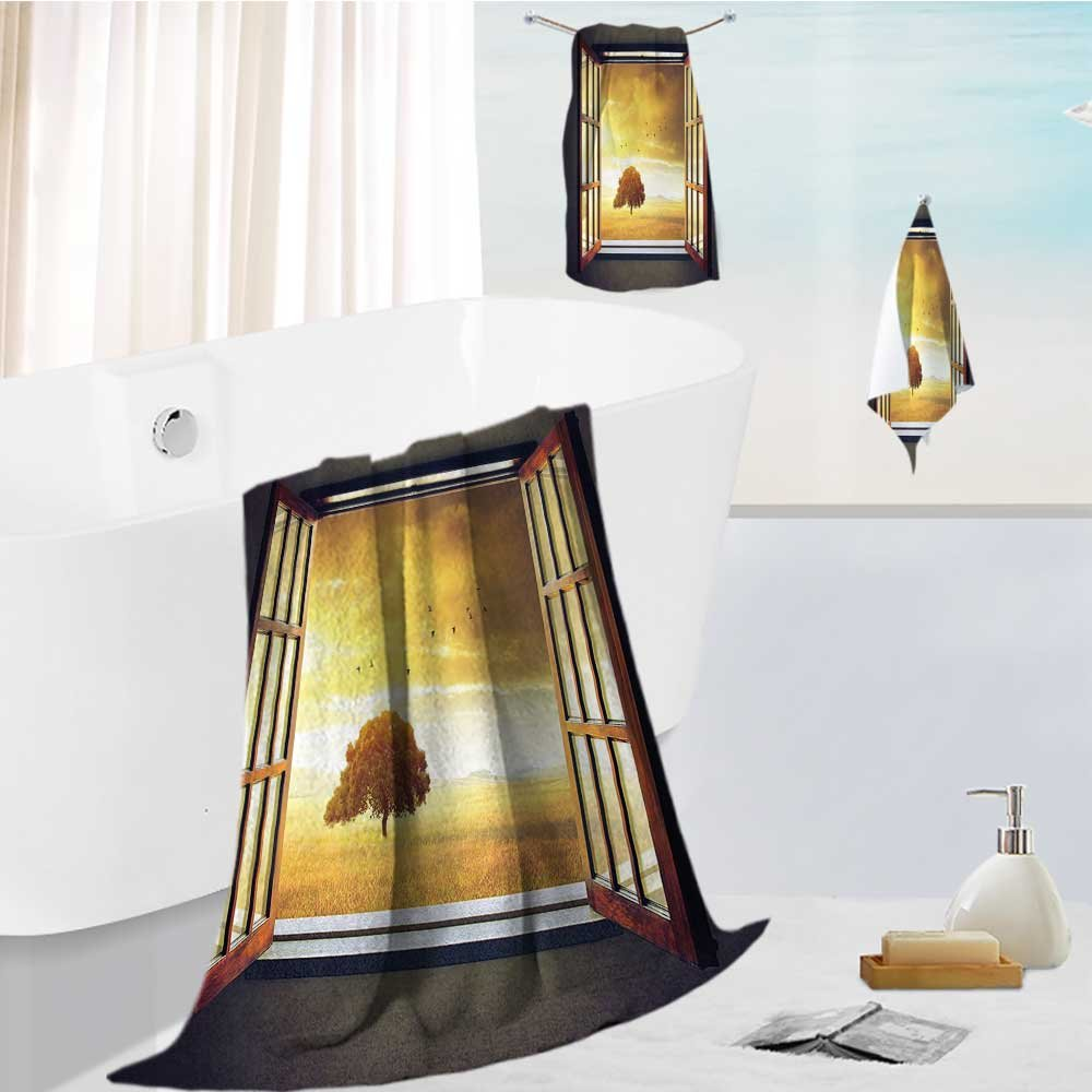 Miki Da bath towel accessories set Looking Out An Open Window to A Sunny Birds Yellow Green Multi-Purpose Hotel, Spa, Home, 19.7''x19.7''-13.8''x27.6''-31.5''x63''