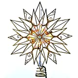 Kurt Adler 10-Light Capiz Scrollwork Starburst Treetop with Gem Center