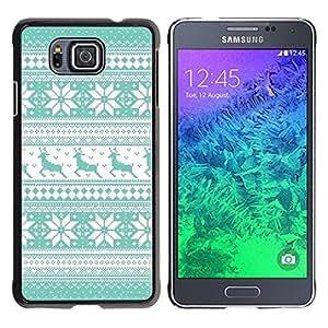 FECELL CITY // Duro Aluminio Pegatina PC Caso decorativo Funda Carcasa de Protección para Samsung GALAXY ALPHA G850 // Pattern Teal Reindeer Winter Knit
