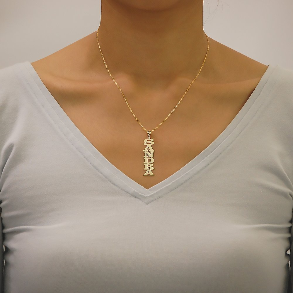 Vertical Name Pendant Charm Chain 14k Yellow Gold Personalized Laser Cut Block Font
