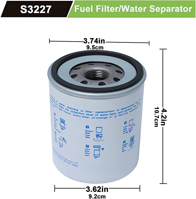 For ITACO Racor S3227 Fuel Filter Water Separator REPLACE 320R-490RRAC01 10M Gas