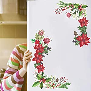 Kiddale Christmas Poinsettia Flower Wall Stickers,Peel and Stick Home Art Mural Window Clings Decal for Home Decor Merry Christmas Decoration