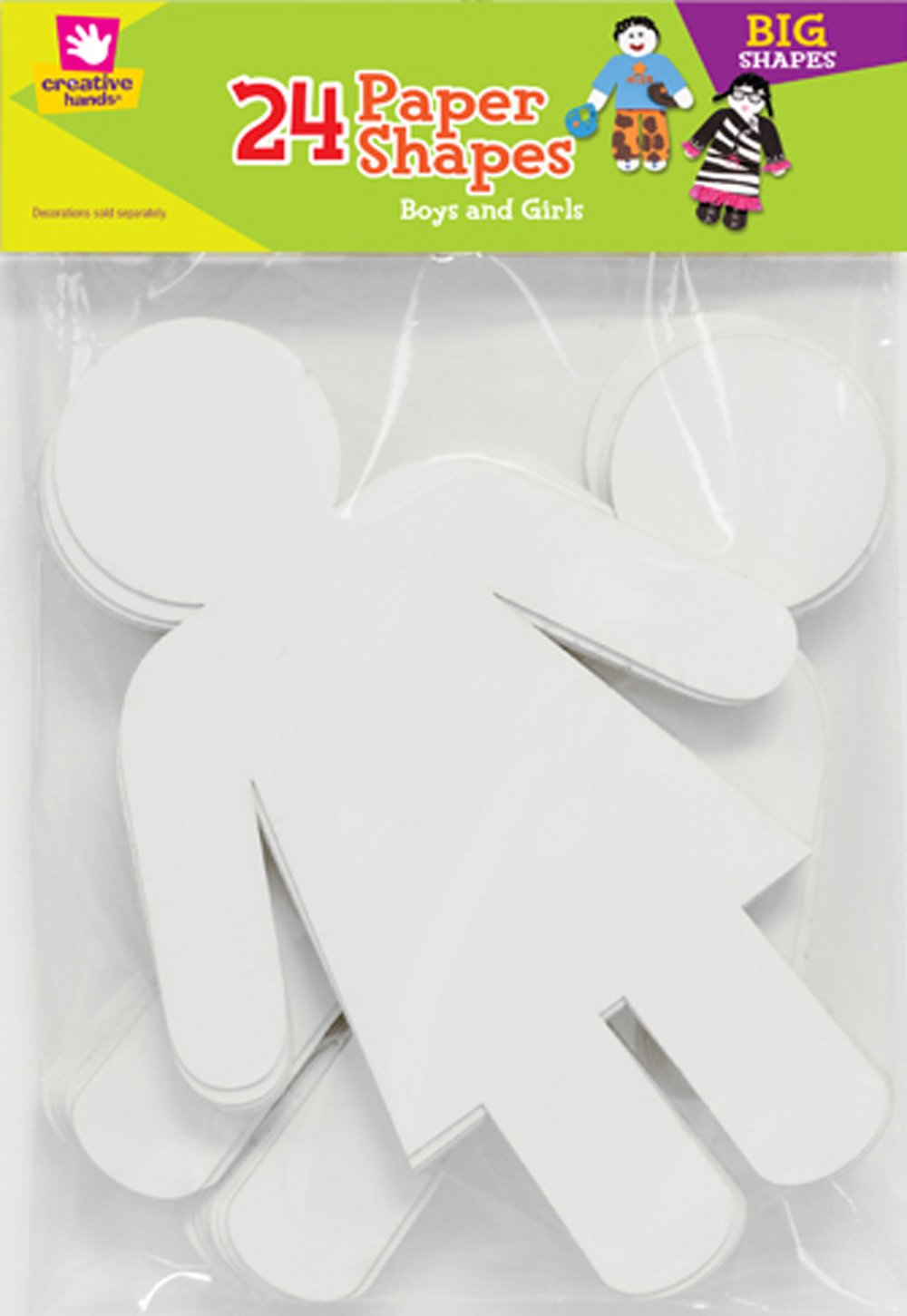 Creative Hands 1073e Paper Shapes Boy Girl Craft Supply 24 Pack