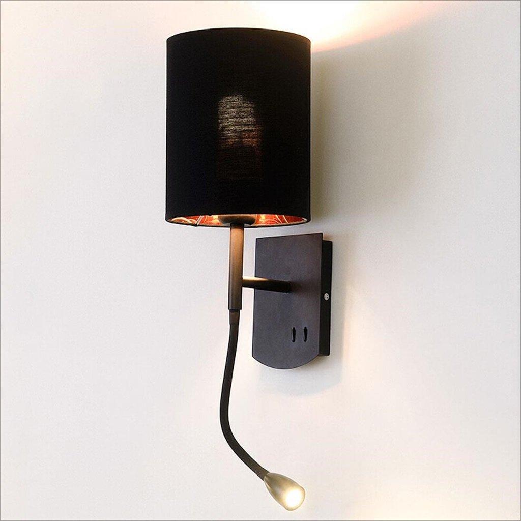 Wandleuchte Eisen LED Leselampe Bett Lampe Nordic Einfache Mode Wohnzimmer Schlafzimmer Wandleuchte E27 111V-240V (Farbe   schwarz)