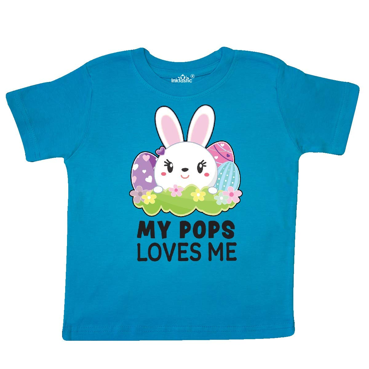 inktastic My Pops Loves Me with Bunny and Easter Eggs Toddler T-Shirt