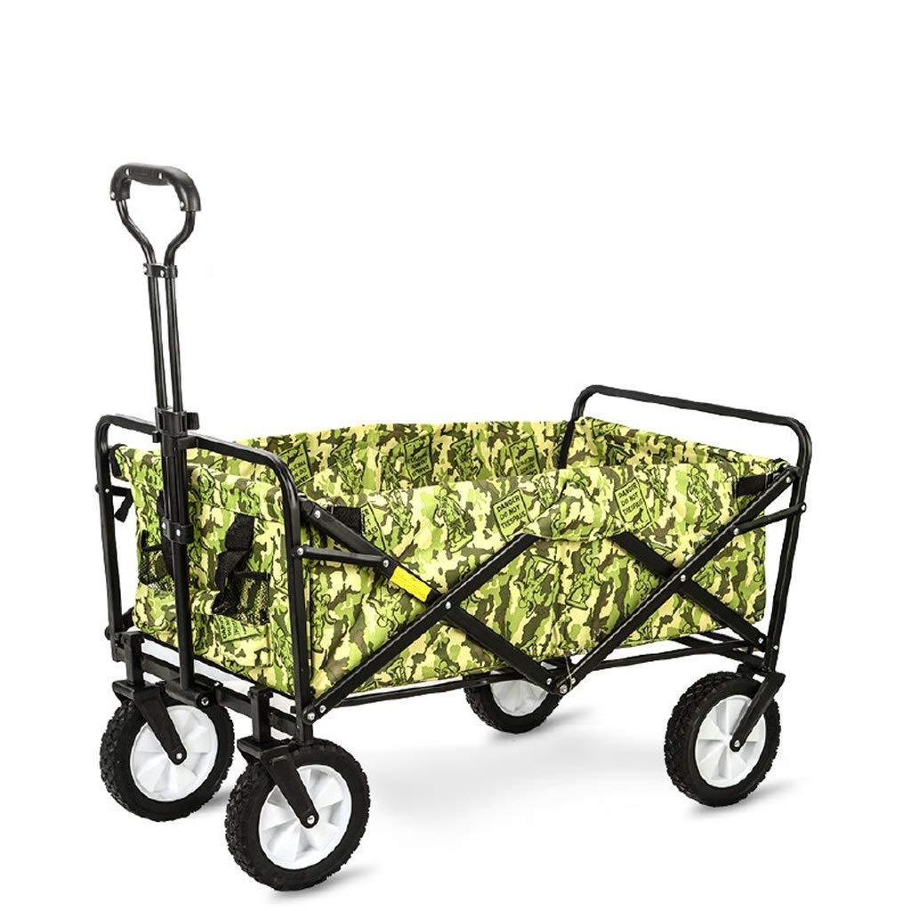 Xilinshop Portable Utility Carts Outdoor Camping Car Supermarket Fishing Shopping Portable Trolley Home Four-Wheel Folding Shopping Cart ( Color : B )