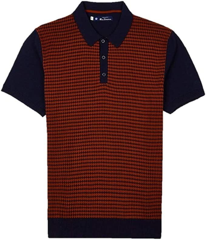 1960s Menswear Outfits | 60s Fashion for Guys Ben Sherman Knitted Geo Polo Dark Navy 0057149 £54.99 AT vintagedancer.com
