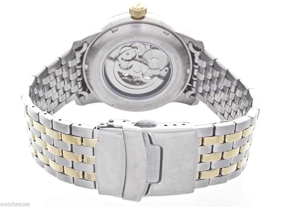 Amazon.com: Rotary Mens Skeleton White Dial Two tone Stainless Steel Bracelet Watch GB00401/21: Watches