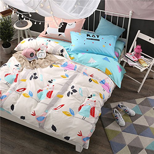 WarmGo Home Textile Duver Cover Set for Adult Girls Happy Owl & Bird Bedding Sets 4 Piece Full/Queen Size without Comforter by WarmGo
