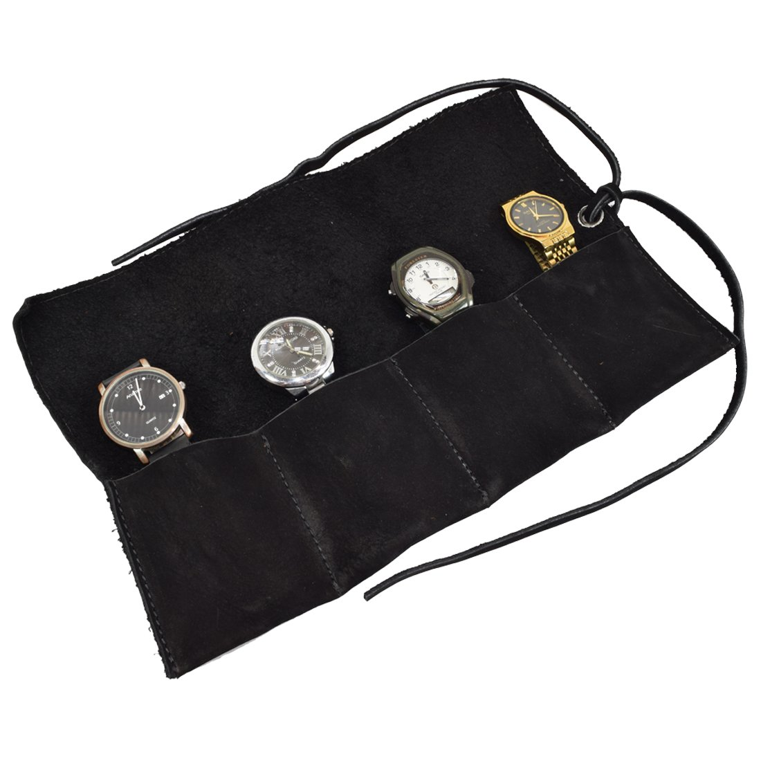 Soft Leather Travel Watch Roll Organizer Holds Up To 4 Watches Handmade by Hide & Drink :: Charcoal Suede