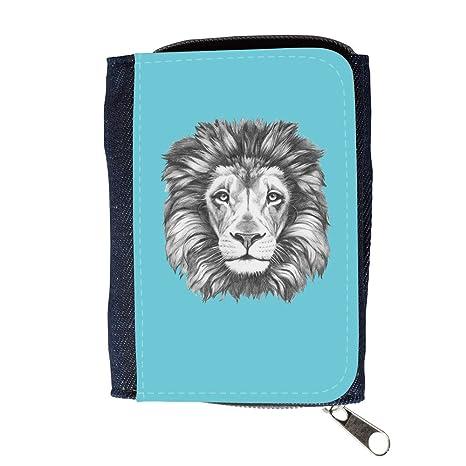 GoGoMobile Cartera para Hombre // Q05160627 Dibujo león Cian // Purse Wallet