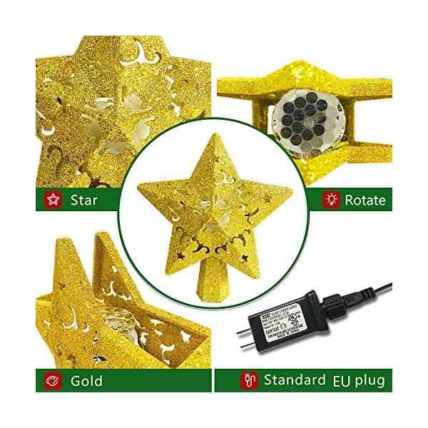 Sulida Luce superiore dell'albero di Natale, stella brillante cava 3D, decorazione per albero di Natale, albero di Natale, proiettore di stella girevole LED luci (oro) 7 spesavip