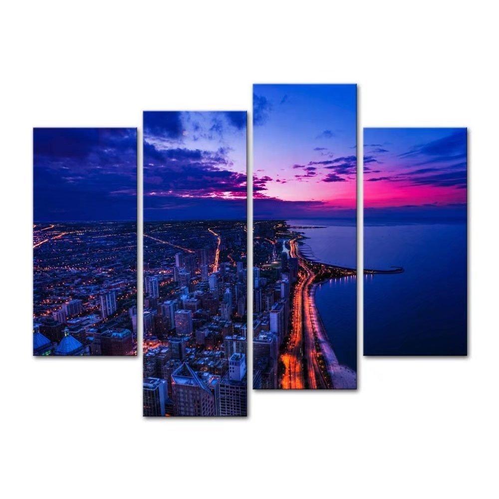 レモンツリーART シカゴの夜街 夜景 建物 街並 キャンバスアートパネル キャンバスフレーム アートパネル キャンバス絵画 アートフレーム 現代アートパネル インテリアアート インテリア装飾 部屋飾り 壁掛け 壁飾り 木枠付き油絵 ギフト 新築お祝い (30x60cmx2;30x80cmx2の4パネル/セット) B071S7PW33 シカゴの夜景(30x60cmx2;30x80cmx2) シカゴの夜景(30x60cmx2;30x80cmx2)