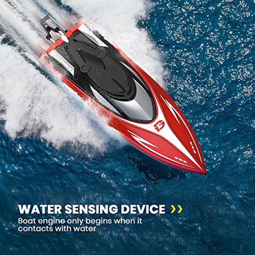 DEERC H120 RC Boat Remote Control Boats for Pools and Lakes, 20+ mph 2.4 GHz Racing Boats for Kids and Adults with 2 Rechargeable Battery, Low Battery Alarm, Capsize Recovery, Gifts for Boys Girls
