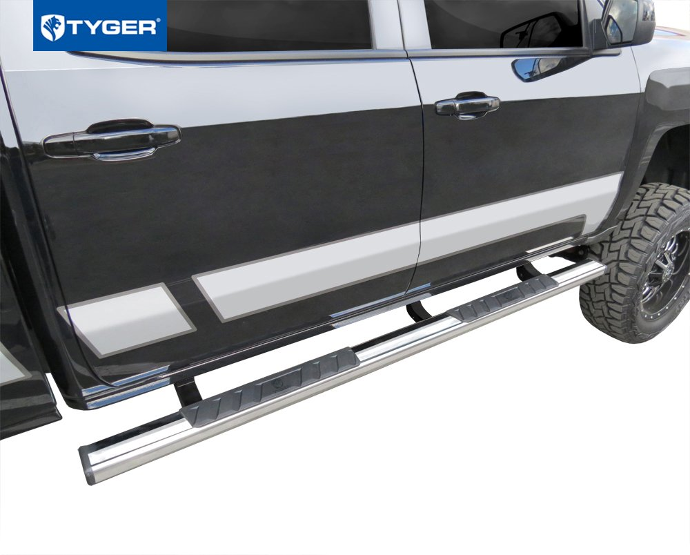 Tyger Auto TG-RS2C40048 Riser for 2007-2018 Chevy Silverado//GMC Sierra 1500 /& 2007-2019 2500//3500HD Crew Cab 4inch Black Side Step Rails Nerf Bars Running Boards