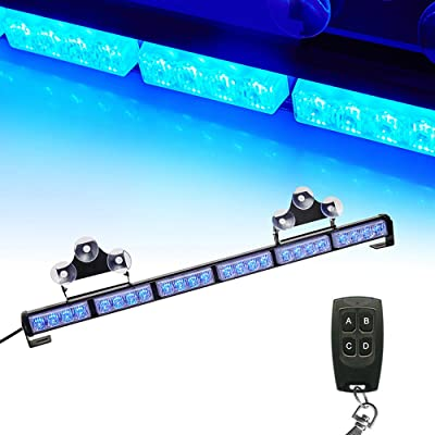 "V-SEK 24 LED 27"" Hazard Emergency Warning Tow Traffic Advisor Flash Strobe Directional Light Bar With Wireless Remote Control (Blue): Automotive"