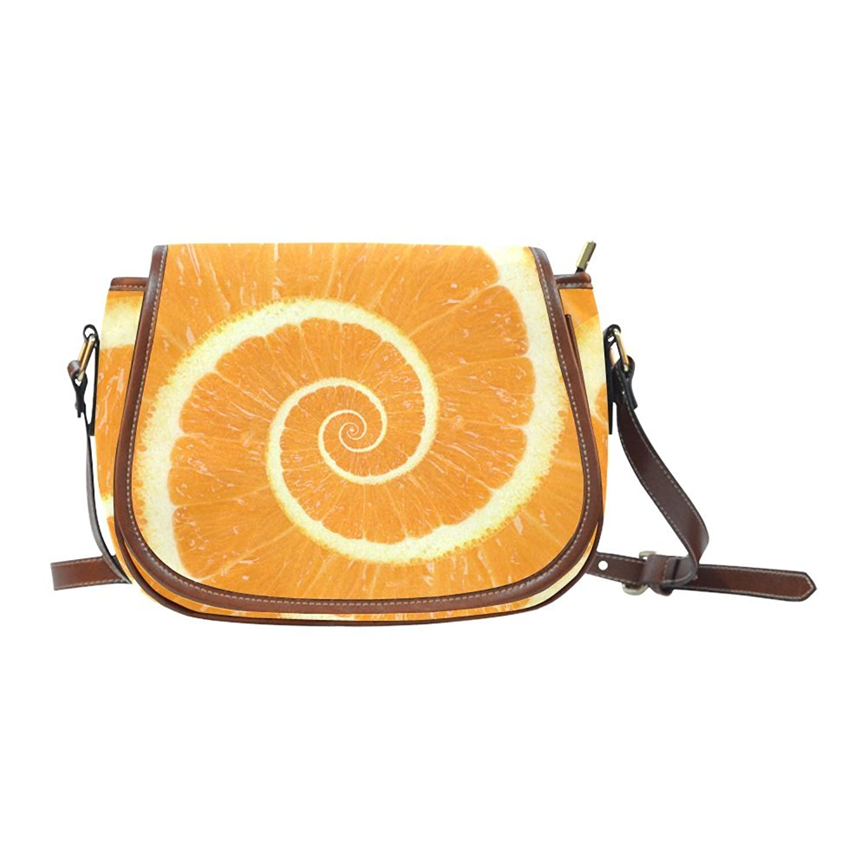 ADE Citrus Orange Spiral Droste Saddle Bag Shoulder Sling Bag L1649