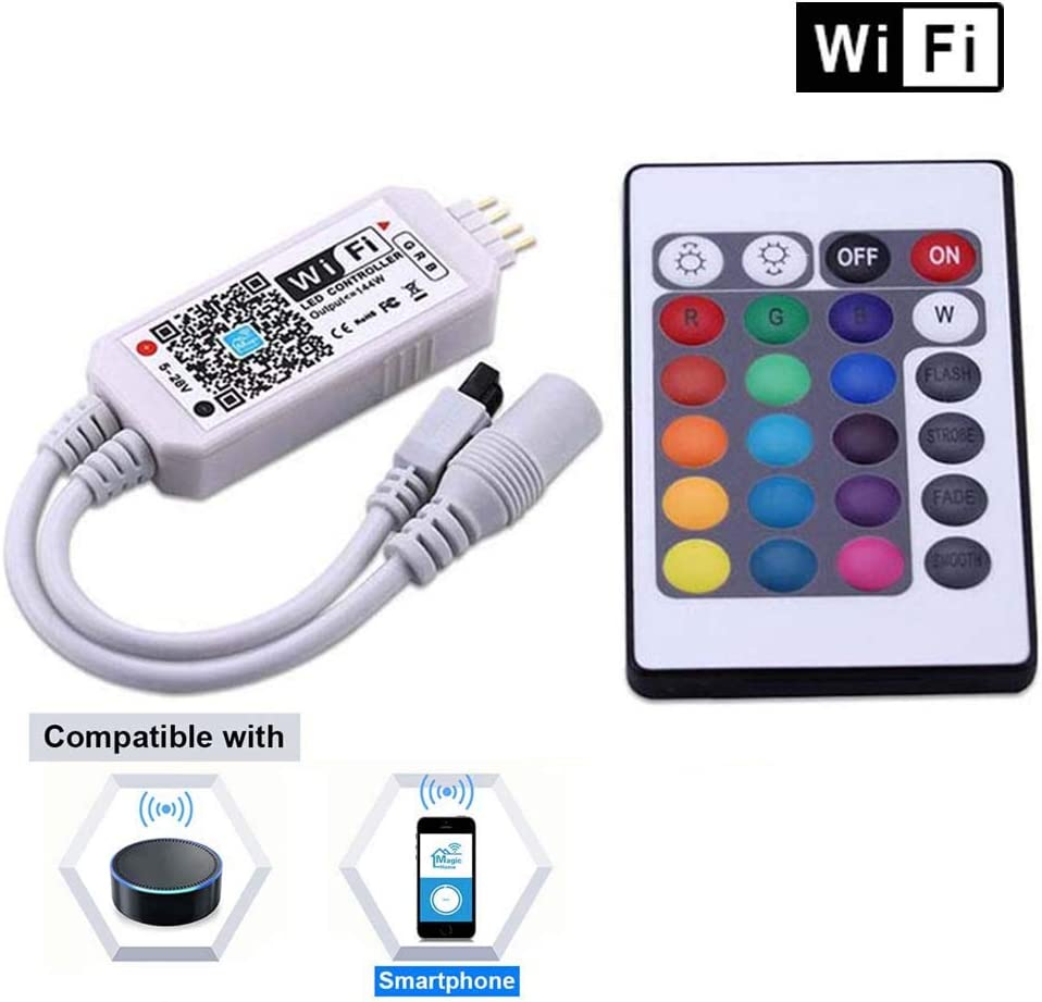Miheal WiFi Wireless LED Smart Controller Alexa Google Home IFTTT Compatible,Working with Android,iOS System, GRB,BGR, RGB LED Strip Lights DC 12V 24V(No Power Adapter Included)