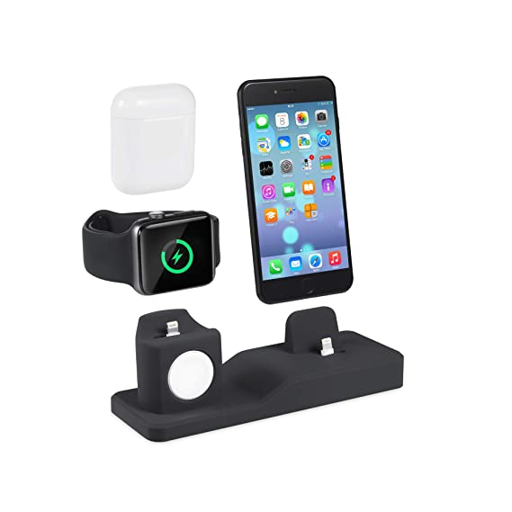 sale retailer 93527 a6a23 Amazon.com: Charging Dock,3 in 1Premium Silicone Charger Holder ...