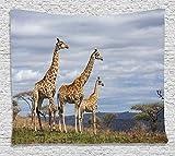 Custom Wildlife Decor African Giraffe Family Looking at Skyline in Savannah Grassland with Shrubs Tan Blue Comfortable Supersoft Throw Fleece Blanket offers
