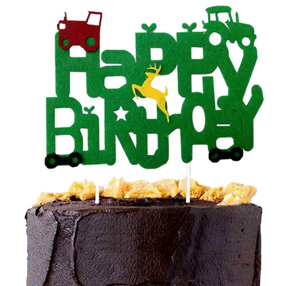Sensational Dk Green Tractor Inspired Cake Topper Custom Name Cake Topper Funny Birthday Cards Online Elaedamsfinfo
