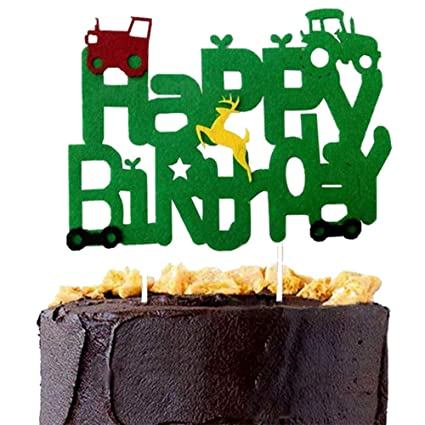 DK Green Tractor Inspired Cake Topper Custom Name John Deere Happy