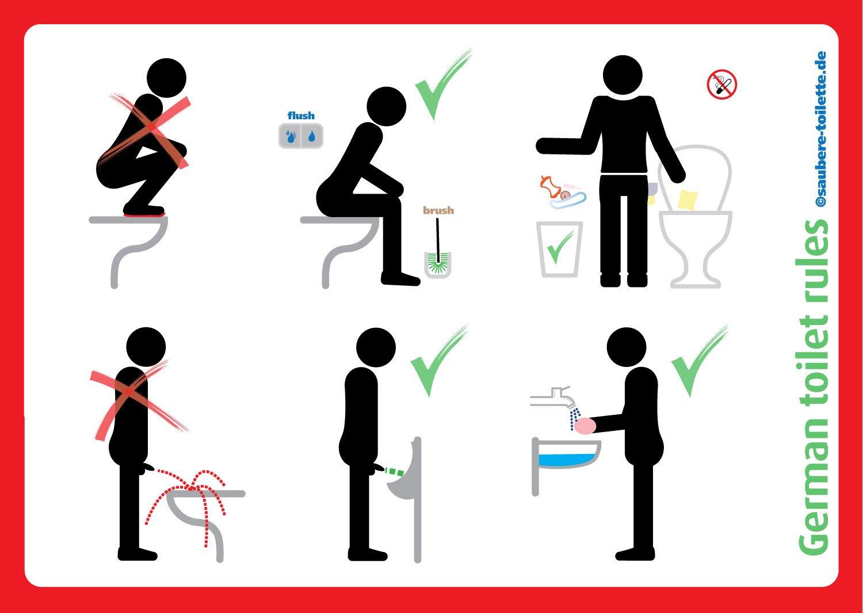 Saubere Toilette Aufkleber Bundle Sitzen Pinkeln Klobürste