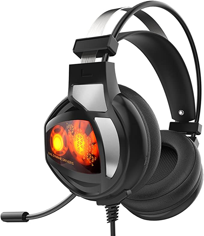 GAKOV Gaming Headset GAV9 7.1 Stereo Wired Computer Headphones with Micro,LED Light,Bass Surround,Soft Memory Earmuffs for Mac//Computer