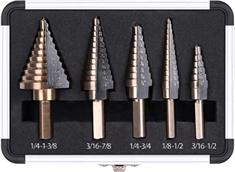 Yadianna 4Pcs 3//16-1//2 1//4-3//4 1//8-1//2 Titanium Coated Step Drill Bit With Automatic Center Pin Punch