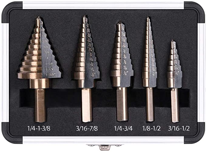 5pcs High Speed Steel Cobalt Step Drill Bit Set with Double Cutting Blades Design Professional Unibit with Aluminum Case for Drilling Holes on Metal Aluminium Wood-Total 50 Sizes WIOR Step Drill Bit