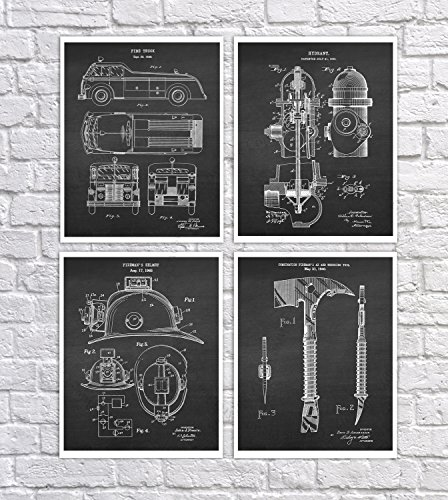 Firefighting Wall Decor Set of 4 Unframed Patent Art Patents_firefighting_Chk4B