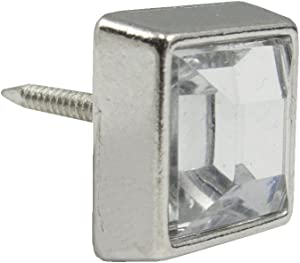 Large Nickel Square Crystal Upholstery Tack 25 Pack
