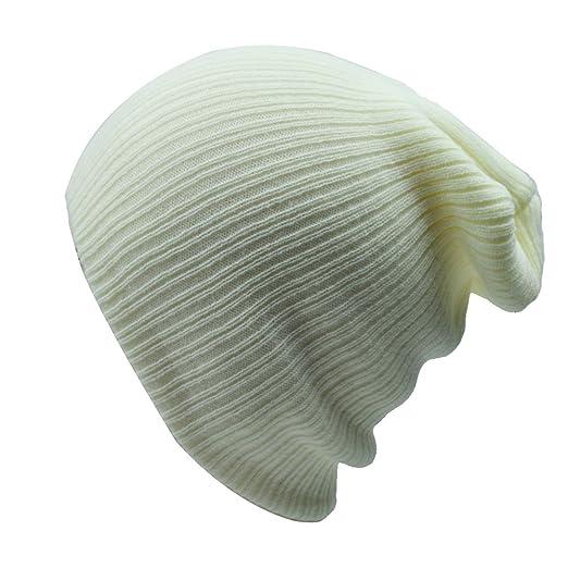 5862e9ae12c Sandy Ting Men Oversize Beanie Hat Skull Cap Knit Hat (Beige) at ...