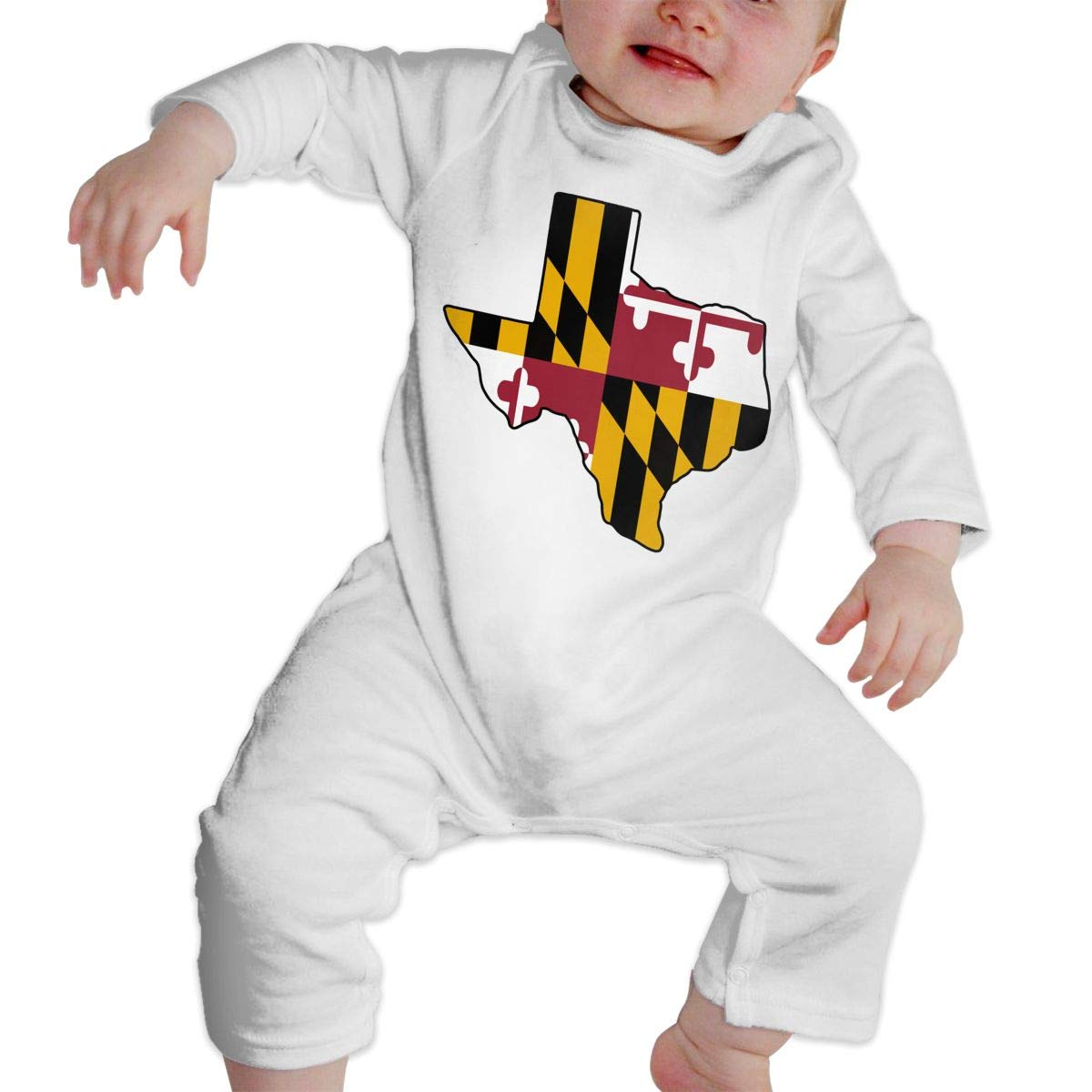 A1BY-5US Infant Baby Boys Girls Cotton Long Sleeve Texas Outline Maryland Flag Romper Bodysuit One-Piece Romper Clothes