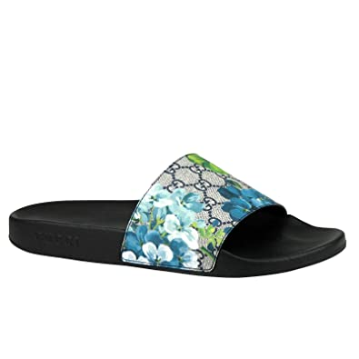 f16b3e65bab0 Gucci Bloom Print Blue Supreme GG Canvas Flower Slide Sandals 407345 8498  (14 G