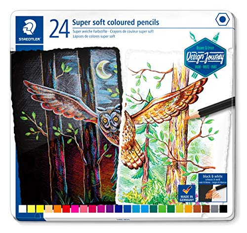 STAEDTLER ST Coloured Pencils Soft Classic Hexagonal Super Soft Lead High Opacity on Light and Dark Paper Metal Case with 24 Bright Colours 149C M24 Multicoloured (Staedtler Arco Compass Set)