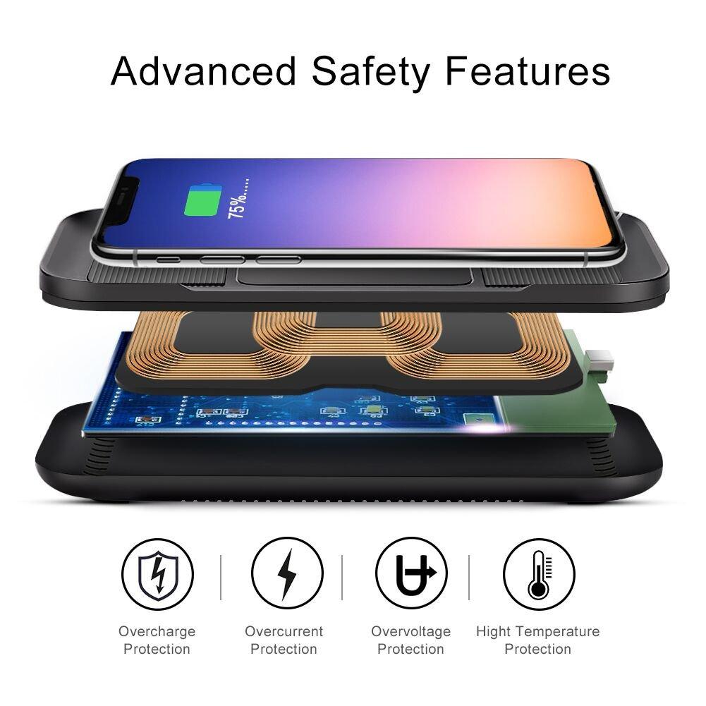 ACTOPP Cargador Inalámbrico Rápido 3 bobinas Qi Cargador para Coche Estación de Carga para iPhone X 8 8 Plus Samsung Galaxy S8 S8 Plus S7 S6 Edge Note 5 y Todos los Dispositivos Qi IP67 Impermeable