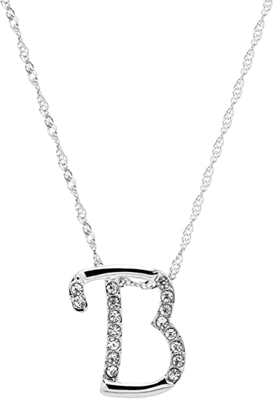 INITIAL S NECKLACE LETTER NAME PENDANT SILVER PLATED /& CRYSTAL 18inch CHAIN NEW