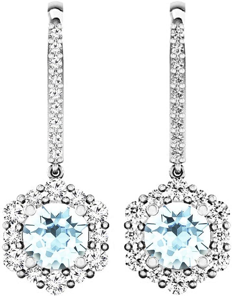 Pendientes colgantes de oro blanco de 14 quilates redondos de 4,5 mm de cada piedra preciosa y diamante para mujer