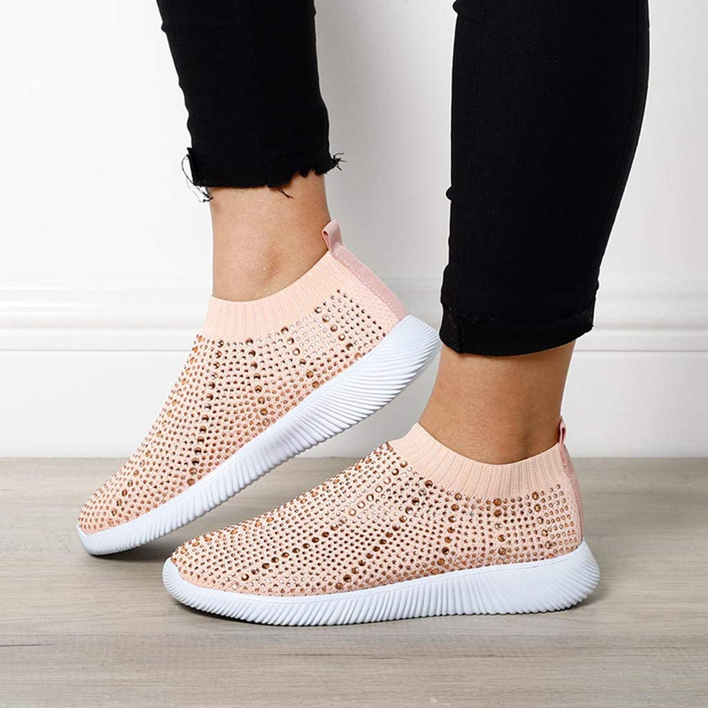 Amlaiworld Women Knit Sneakers Ladies Fashion Casual Crystal Bling Sock Trainers Slip On Sport Shoes