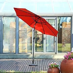 Respace 9-Feet 32funciona con energía solar con luz LED Patio paraguas al aire libre con botón de presión de inclinación y manivela, 8varillas de aluminio, 100% poliéster, resistente a los rayos UV, color naranja