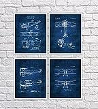 vintage airplane blueprint - Vintage Biplane Wall Art Set of 4 Unframed Blue Prints Aviation Biplane Room Decor Pilot Gift Ideas Patents_Aviation_Blue4A