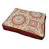Large Indoor Outdoor Red Blue Green Medallion Pattern Dog Bed, Floral Rectangle Pet Bedding, Aqua Bold Print, Features Water Fade Resistant, Removable Cover, Stylish, Polyester