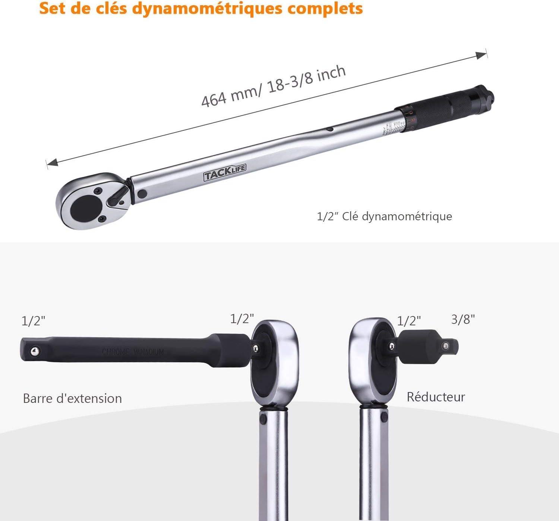 """Tacklife HTW2A 1//2/"""" Clé Dynamométrique Longueur de 46.5cm,... 13,6-203,5 Nm"""