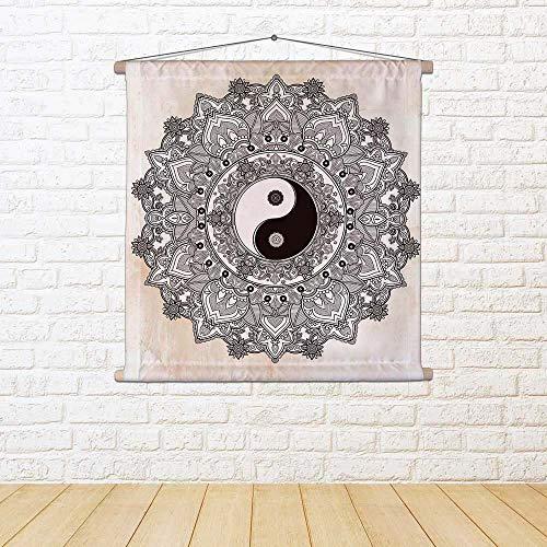 ArtzFolio Yin & Yang Tao Mandala Symbol Silk Painting Tapestry Scroll Art Hanging 30 X 30Inch