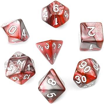 Richi - Juego de dados poliédricos para juego de mesa TRPG Calabozos y Dragones (7 unidades), D4-D20, Rojo: Amazon.es: Deportes y aire libre