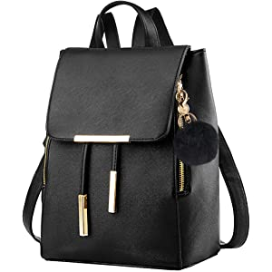00f68b380 Black Leather Backpack,Coofit Drawstring Backpack Purse for Women Ladies Backpacks  with Keychain