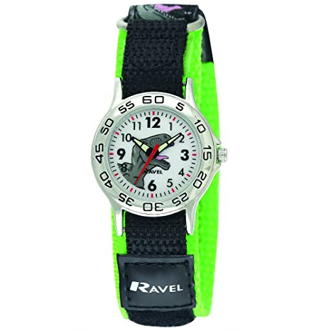c76f3e2b23 Ravel Children's Dinosaur Watch with Easy Fasten Action Strap:  Amazon.co.uk: Watches